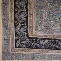 Handmade Cotton Floral Vegetable Dye Hand Block Print Tapestry Tablecloth Blue Full