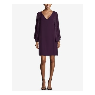 Link to BETSY & ADAM Purple Long Sleeve Above The Knee Shift Dress  Size 10 Similar Items in Petites