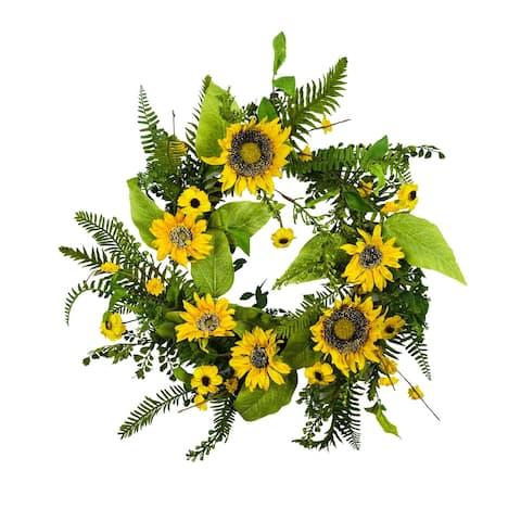 """Mixed Sunflower Artificial Wreath 24"""""""