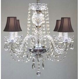 Swarovski Crystal Trimmed Chandelier Lighting All Crystal Chandelier Lighting & Black Shades