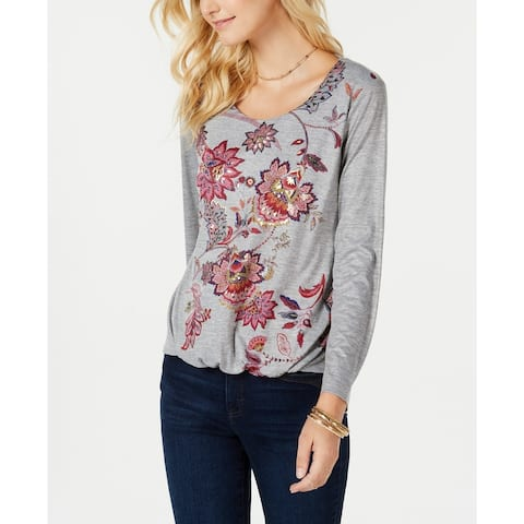 Style & Co Women's Printed Bubble-Hem Top Grey Size Extra Large - X-Large