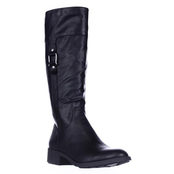 SC35 Astarie Buckle Knee High Boots, Black