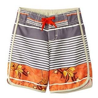 Azul Little Boys Gray Orange Leaf Stripe Urban Escape Board Shorts