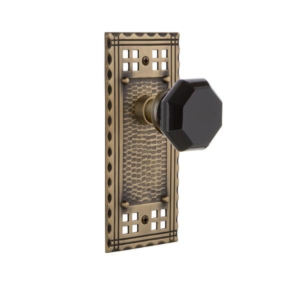 "Nostalgic Warehouse CRAWAB_PRV_234_NK Craftsman Solid Brass Rose Privacy Knob Set with Black Waldorf Knob and 2-3/4"" Backset"