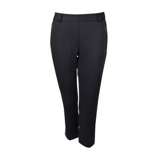 Charter Club Women's Slim Leg Ponte Knit Pant - Deep Black