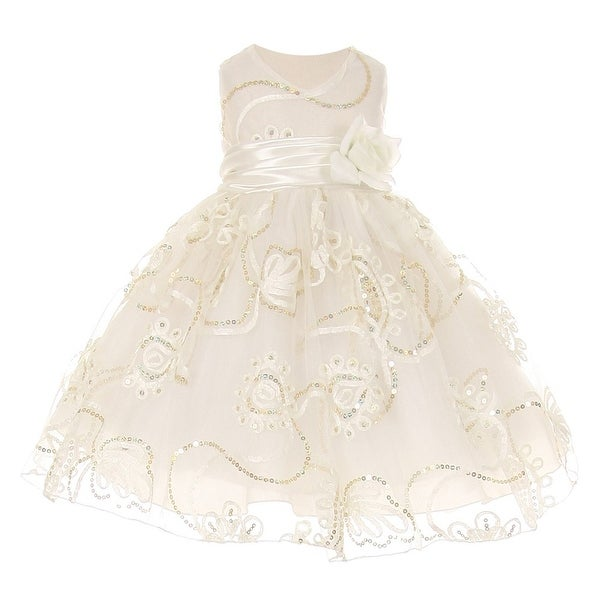 Baby Girls Ivory Tulle Embroidery Sequins Flower Girl Easter Dress 3-24M