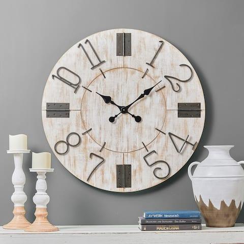Glitzhome Farmhouse Sturdy Round Wall Clock