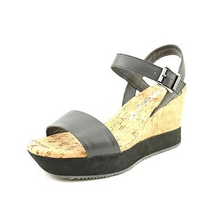 DKNY Ione Women  Open Toe Leather Black Wedge Sandal