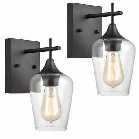 Cantu Industrial Clear Glass Wall Sconces Matte Black Bathroom Lights 2-Pack