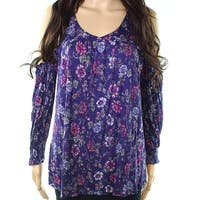 Eyeshadow Womens Large Cold-Shoulder Floral Knit Top