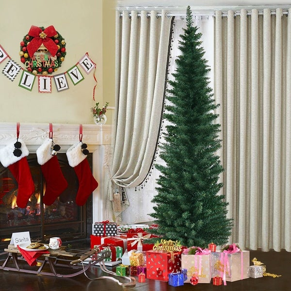 Pencil Drawing Of Christmas Tree: Shop Costway 6Ft PVC Artificial Pencil Christmas Tree Slim