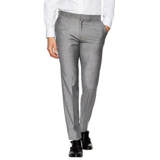 Theory Marlo Arkose Slim Fit Wool Textured Flat Front Dress Pants Grey