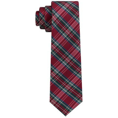 Tommy Hilfiger Boys Tartan Self-tied Necktie, Red, One Size - One Size