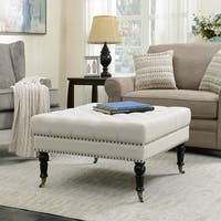 Belleze Square Ottoman Foot Rest Upholstered Padded Support Button Tufted Fabric w/ Rolling Wheels, Beige