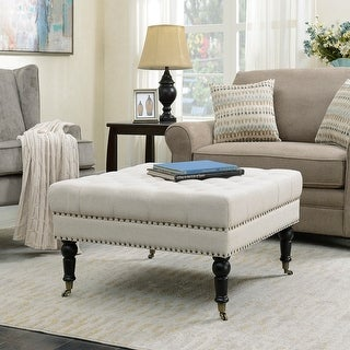 Belleze Square Ottoman Foot Rest with Rolling Wheels Upholstered Padded Support Stylish Button Tufted Fabric