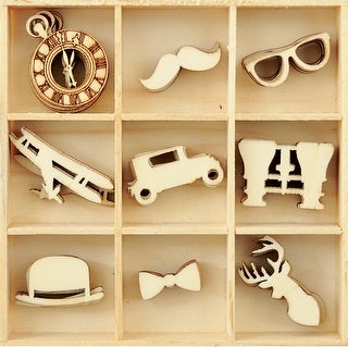 Themed Mini Wooden Flourishes 45/Pkg-Gentleman