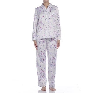 Carole Hochman Women's Watercolor Floral Brushed Back Satin Long Pajama Set