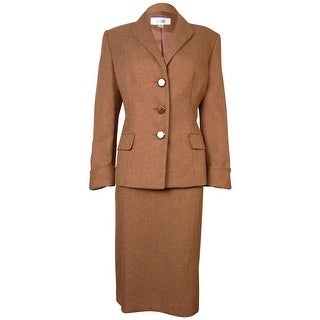 Le Suit Women's Woven Herringbone Tuscany Skirt Suit - RUST