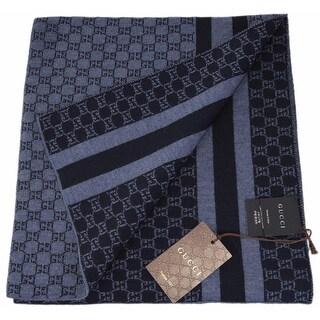 "Gucci Unisex 438253 Blue Wool Web Stripe GG Guccissima Scarf Muffler - 78"" x 12"""