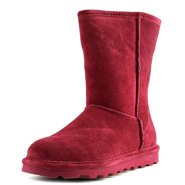 Bearpaw Elle Short Women Round Toe Suede Burgundy Winter Boot