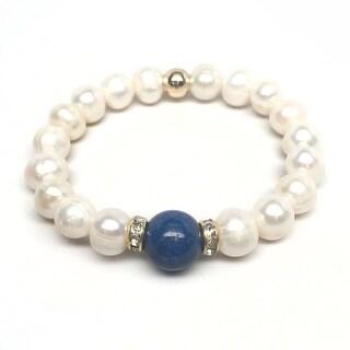 "Freshwater Pearl & Blue Jade Joy 7"" Bracelet"