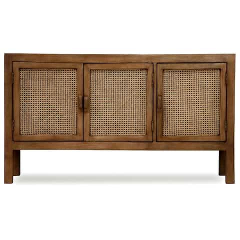 StyleCraft Easton Mango Wood and Woven Cane Panels Sideboard