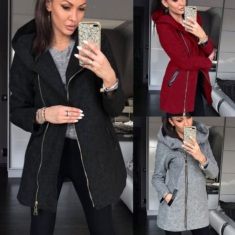 New Fashion Winter Women's Highcollar Zipper Fleece Long Sleeved Casual Pocket Jacket Autumn Plus Size