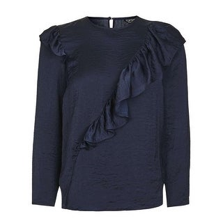 TopShop Navy Blue Womens Size 2 Ruffle Front Crewneck Satin Blouse