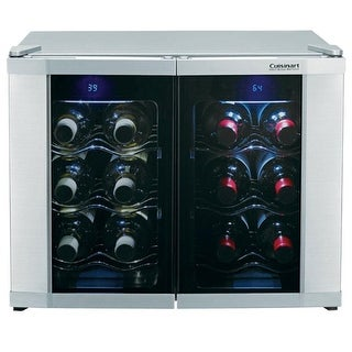 Cuisinart CWC-1200DZ 12-Bottle Dual Zone Wine Cellar, Stainless Finish