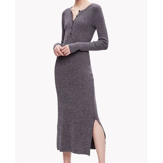 Theory NEW Blue Womens Size Medium M Ribbed Henley Sweater Dress