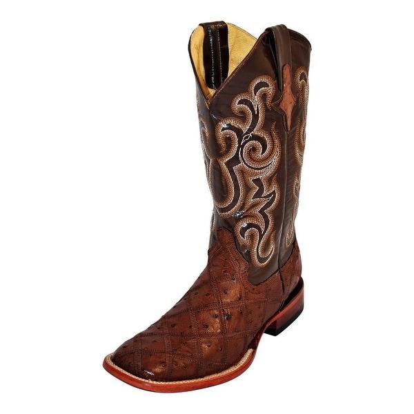 Ferrini Western Boots Mens Cowboy Ostrich Patchwork Kango