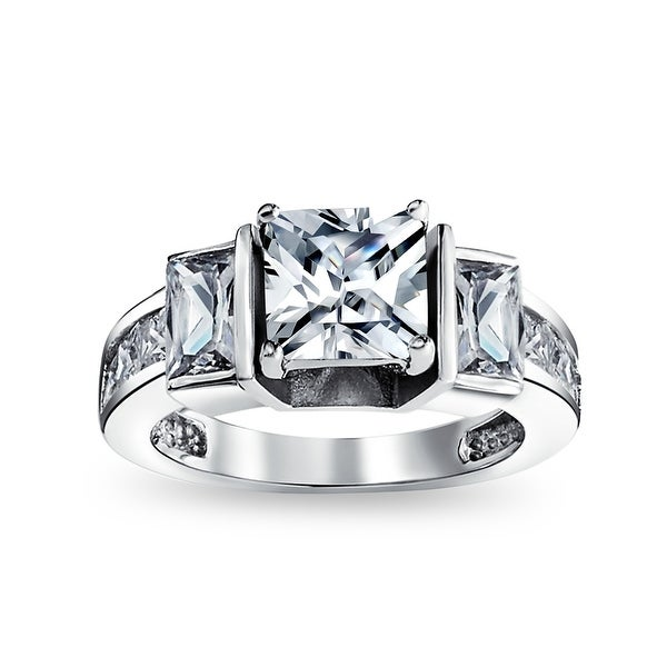 3CT Square Princess Cut 3 Stone CZ Engagement Ring 925 Sterling Silver. Opens flyout.