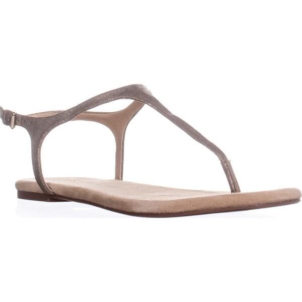 Splendid Mason Buckle T Strap Flat Sandals, Champagne - 8.5 us