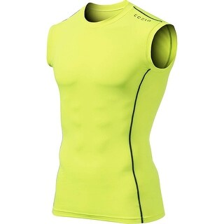 Tesla MUA05 Sleeveless Compression Muscle Tank Top - Neon Yellow/Dark Gray (4 options available)