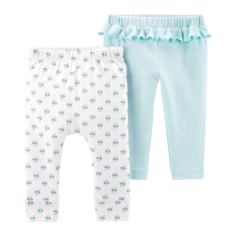 Carter's Baby Girls' 2-Pack Pants Set- Blue Flowers, 12 Months