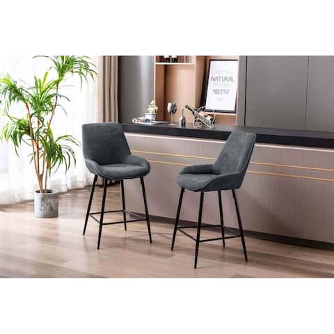 Porthos Home Kara Counter Stools Set Of 2, Microfiber, Iron Legs