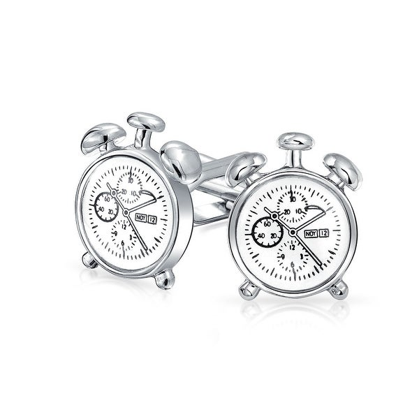 Shop Stop Watch Alarm Clock Set Shirt Cufflinks For Men Hinge Back