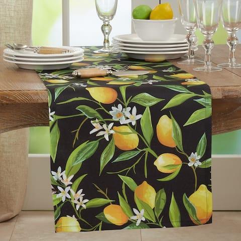 Outdoor Table Runner With Lemon Design