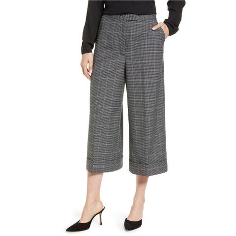 Anne Klein Womens Houndstooth Culotte Pants