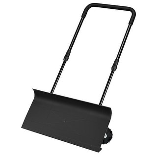 Gymax 30'' Hand-push Snow Shovel Rolling Snow Pusher Adjustable Handle User-friendly