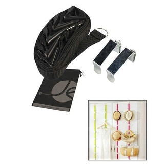 JAVOedge Black Over the Door Extra Storage Hanging Belt Style Organizer with Built in Hooks for Purses, Hats, and More