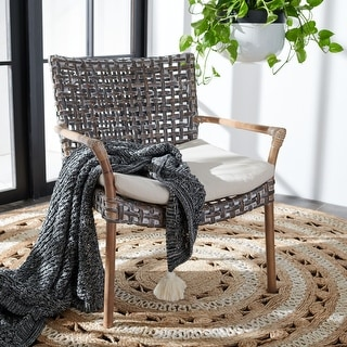 """Link to SAFAVIEH Collette Coastal Rattan Accent Chair with Cushion - 29.5"""" W x 26.2"""" L x 31.1"""" H Similar Items in Living Room Chairs"""