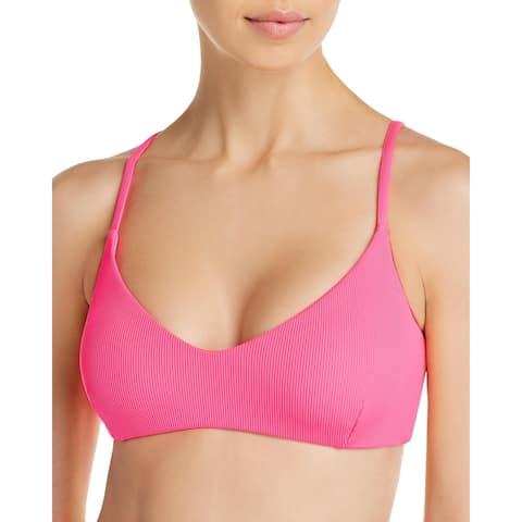 Aqua Womens Ribbed Plunge Swim Top Separates - Pop Pink