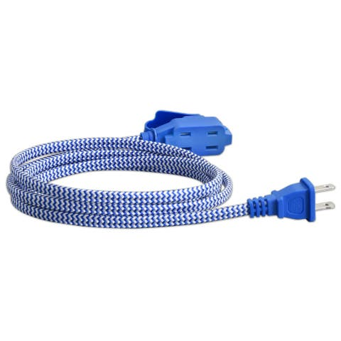 Vision 3 Pack 6 Foot Braided Flat Extension Cord UL Listed Blue - 240058