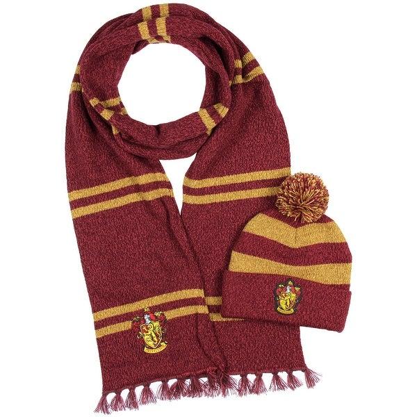Shop Harry Potter Hogwarts Houses Knit Scarf   Pom Beanie Set - On ... 5e5cd208a340