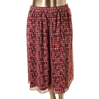 Sejour Womens Plus Pattern Mid-Calf A-Line Skirt