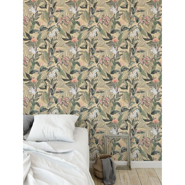Shop Tropical Jungle Yellow Green Peel And Stick Wallpaper By Kavka Designs 2 X 16 On Sale Overstock 31638025