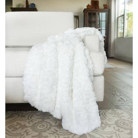 "Millihome Morgan White Faux Fur Throw Blanket 50""x60"""