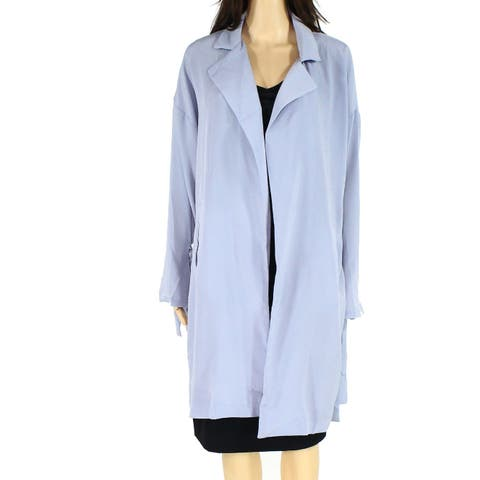 Lush Womens Blue Fog Size Small S Textured Tie-Sleeve Open Front Jacket