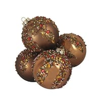 "4ct Brown Glitter Sequin Beaded Shatterproof Christmas Ball Ornaments 3.25"" 80mm"
